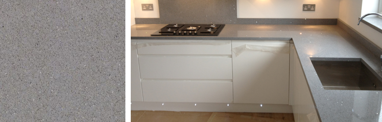 Grey Stone Kitchen Worktops : Medium Grey Quartz Worktops fitted in Chingford