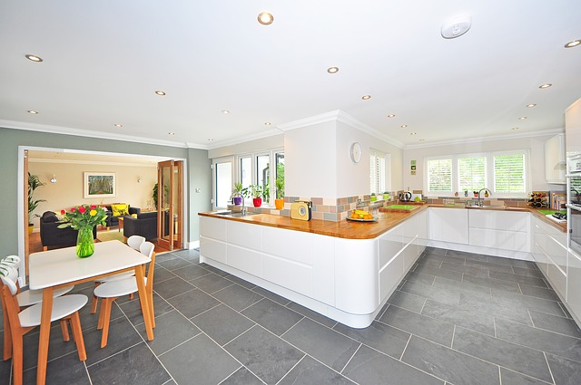 modern, white and wooden kitchen panoramic photo
