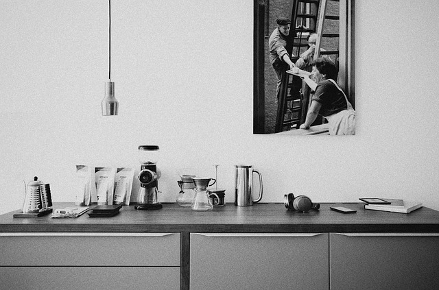 black and white kitchen equipment photo